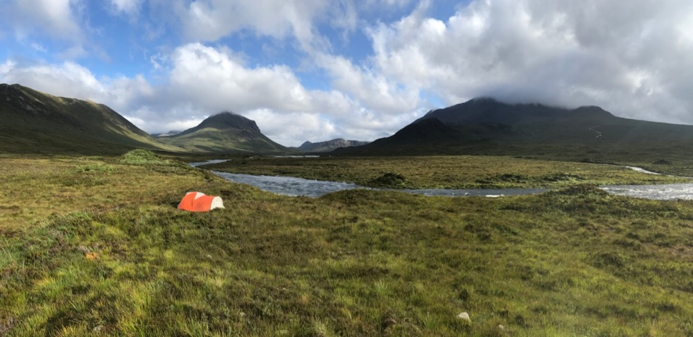 Wild camping in Glen Slichagan, the Black Cuillin mountains in the background