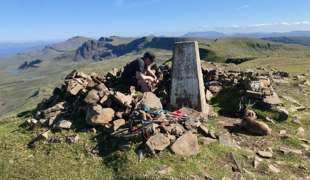 Being Edra trig point on the Trotternish Ridge. A nice sheltered spot to bust out the jet boil and have a brew!