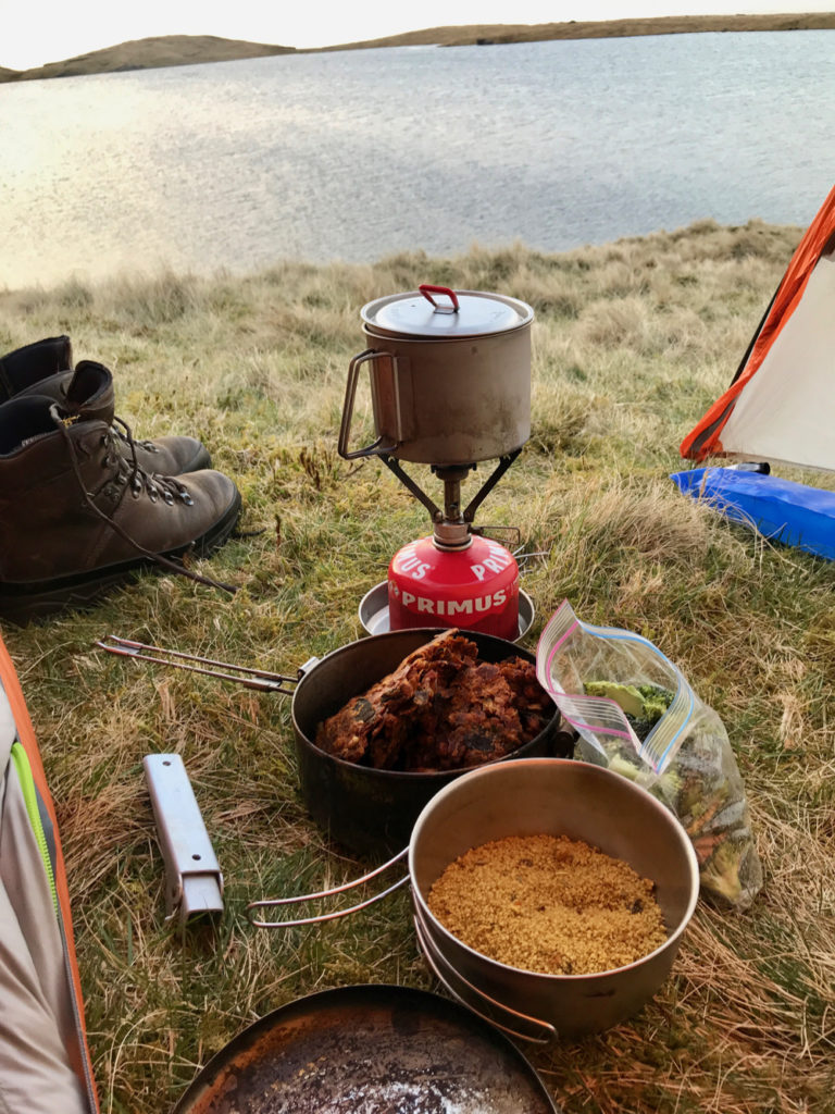 Wild camping food: veggie chilli and couscous