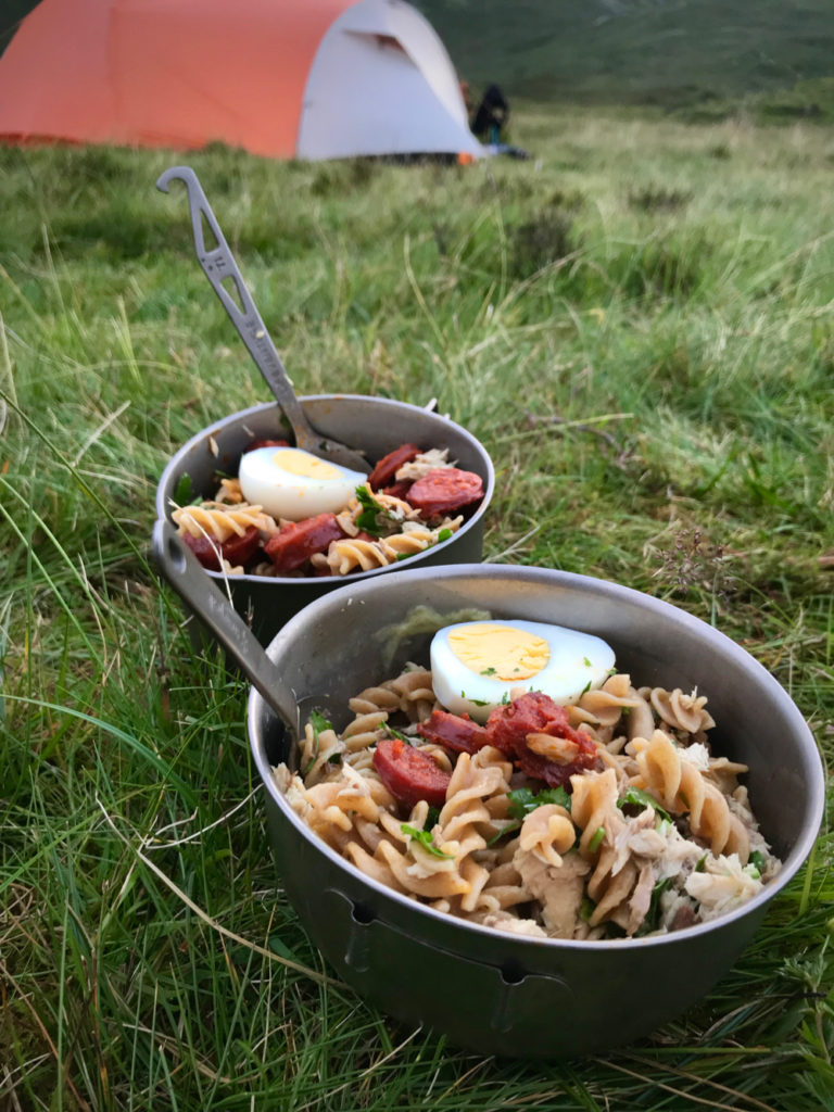 Wild camping dinner from store bought ingredients