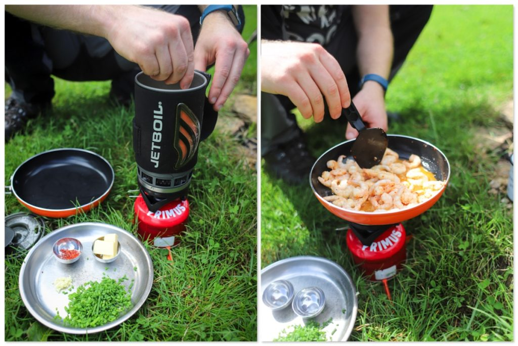 Making shrimp and grits with the Jetboil Flash System and Summit Skillet
