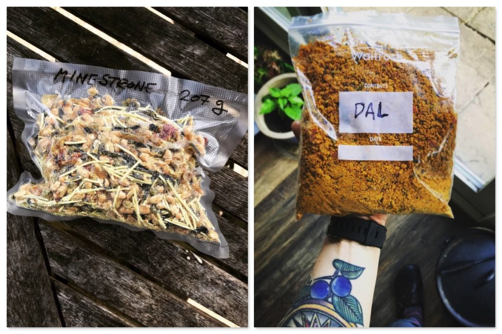 Homemade dehydrated wild camping food: minestrone and lentil dal