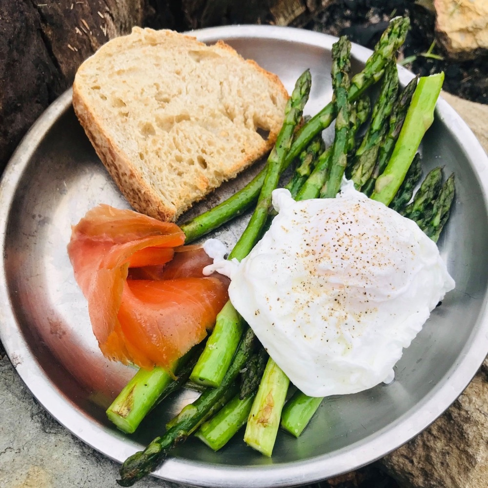 Ultimate wild camping breakfast: sourdough bread, pan fried asparagus, poached eggs, smoked salmon