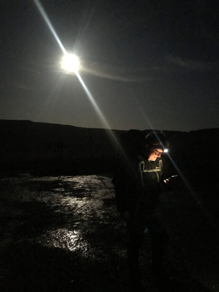Moonlight in the Carneddau as we set off for our first night wild camping