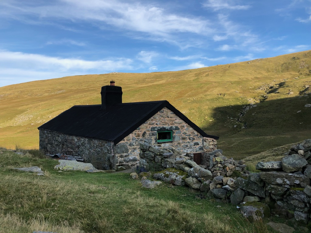 Dulyn Bothy, former shepherd's hut now a two room refuge maintained by the Mountain Bothy Association