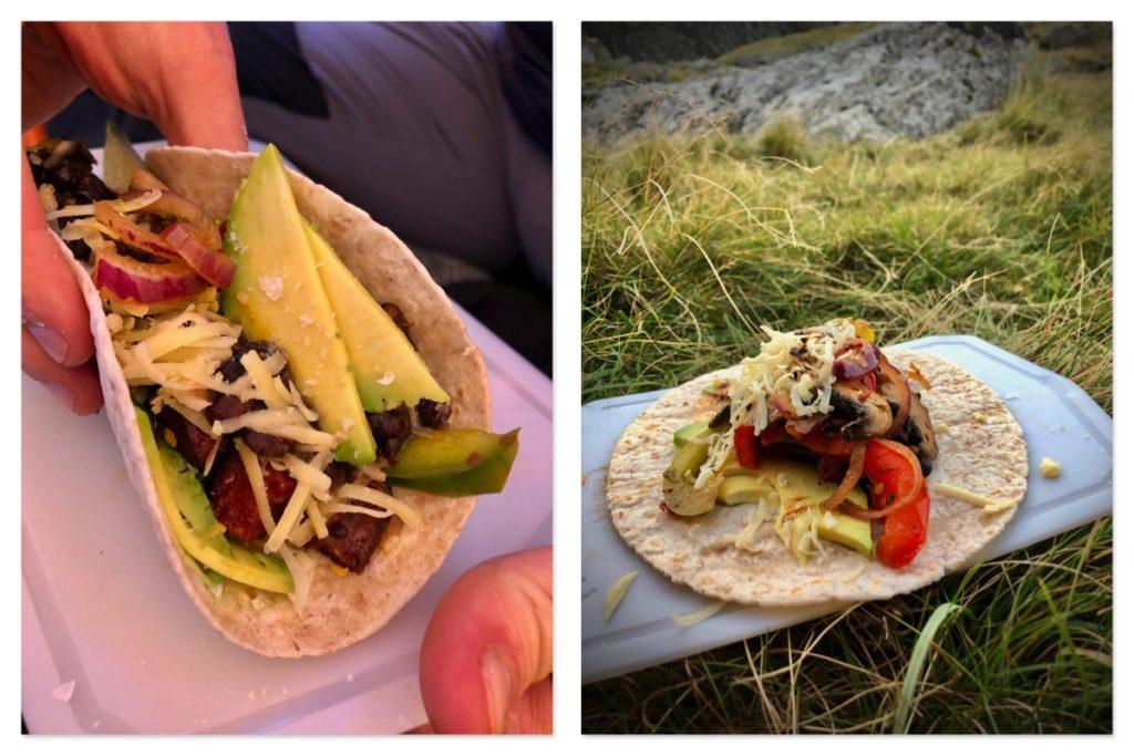 Tent tacos featuring portobello mushroom fajitas, refried black beans, avocado and cheddar