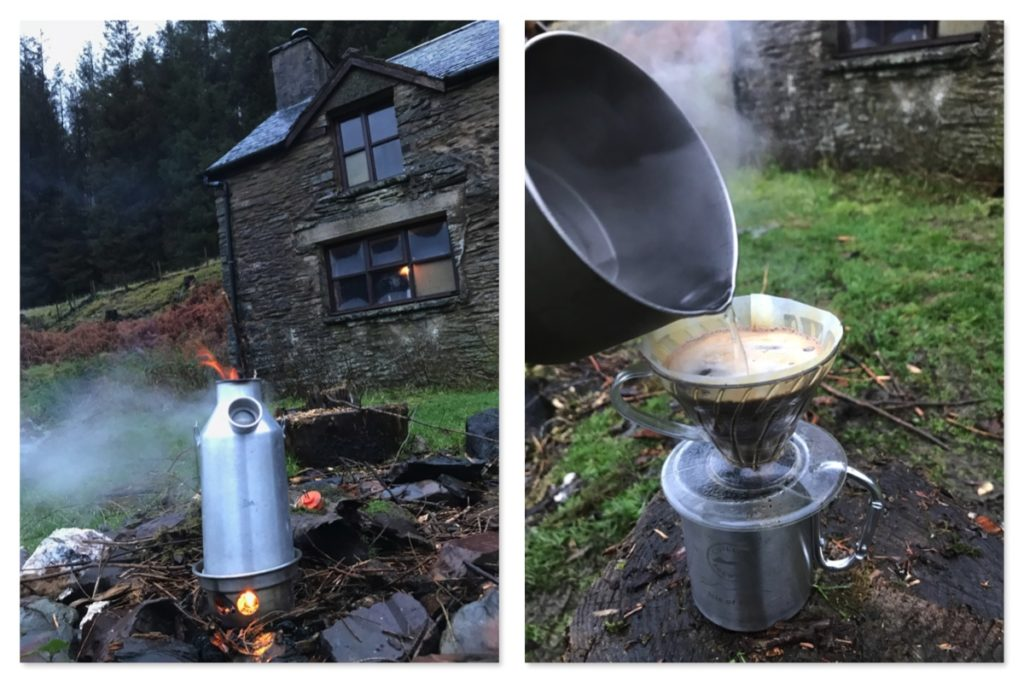 Kelly Kettle V60 coffee outside the bothy