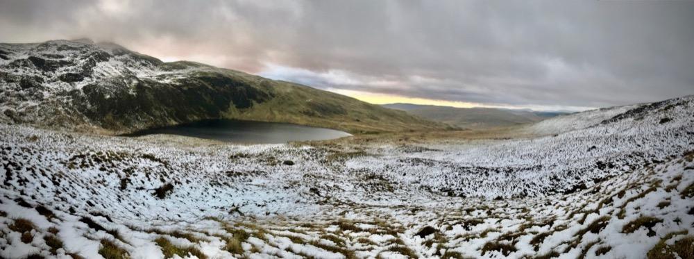 Spectacular snowy view above Llyn Llygad-Rheidol