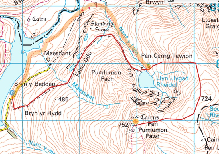 Plynlimon wild camping OS map