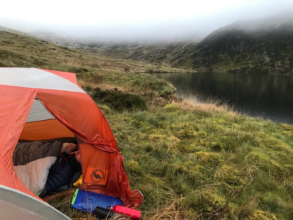 Keeping cozy in the Big Agnes on a trip to Plynlimon, Mid Wales
