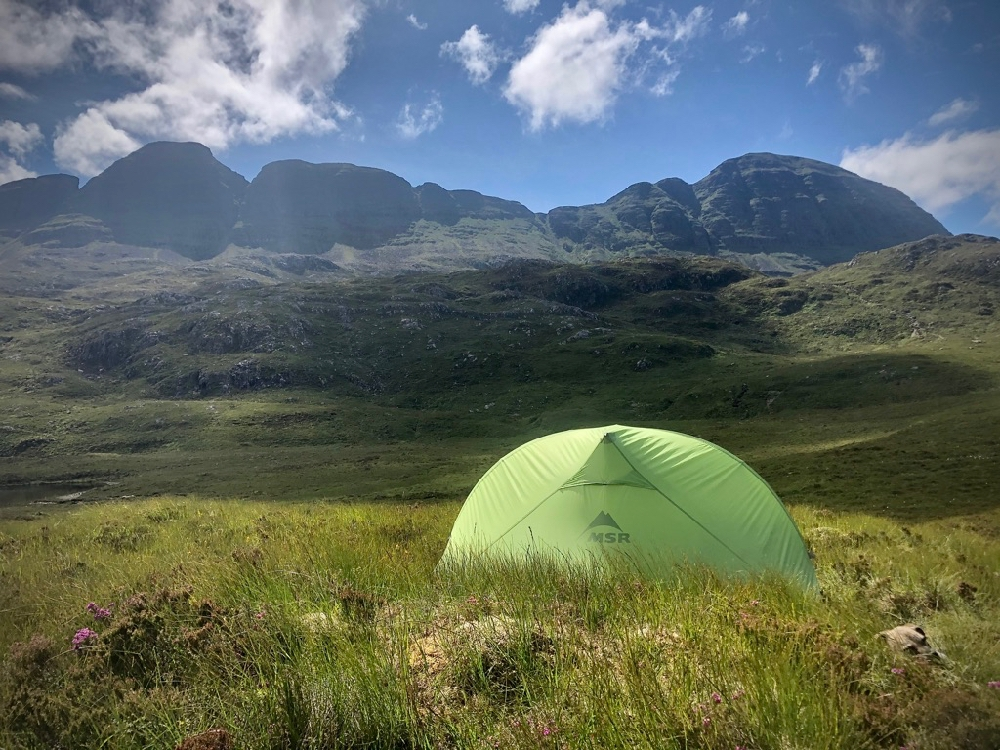 Wild camping, Suilven in the background