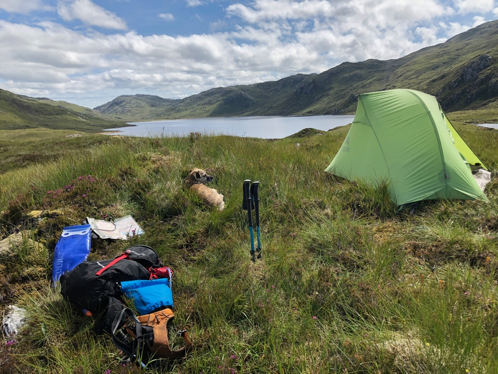 Wild camping view of Loch na Gainimh