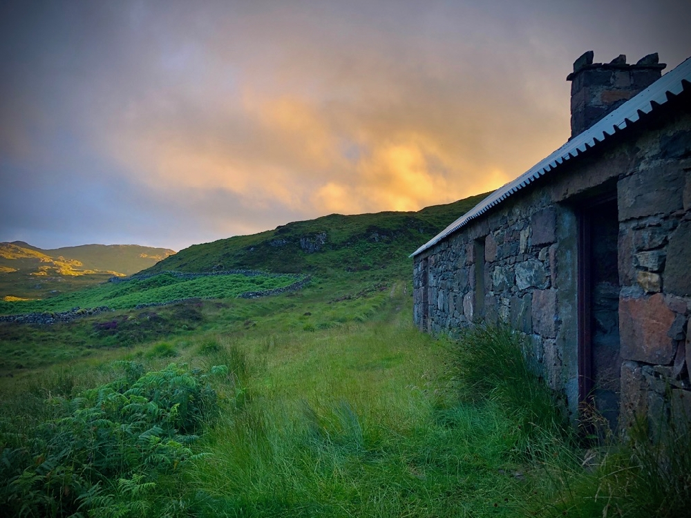 Suileag Bothy at sunset