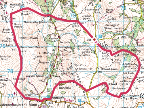 Dartmoor wild camping and walking route map