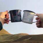 Tin cup toast in the Berwyn Mountains