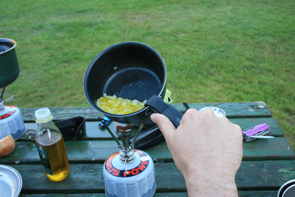 Frying onions on an MSR Pocket Rocket camp stove