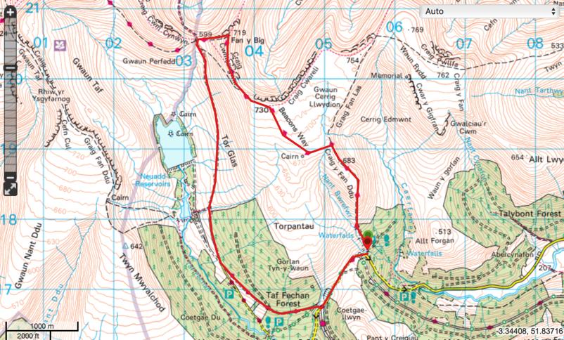 Fan y Big Circular Walk Map