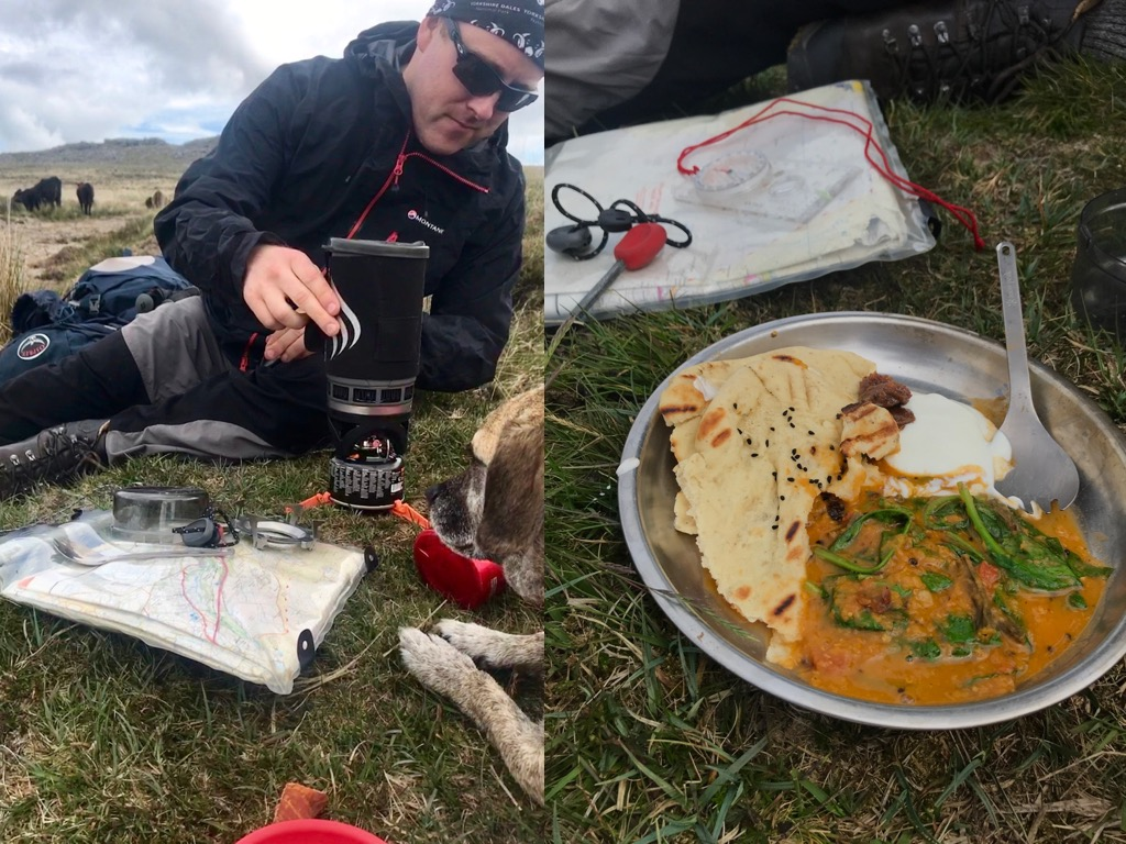 Rehydrating tarka dhal in Dartmoor