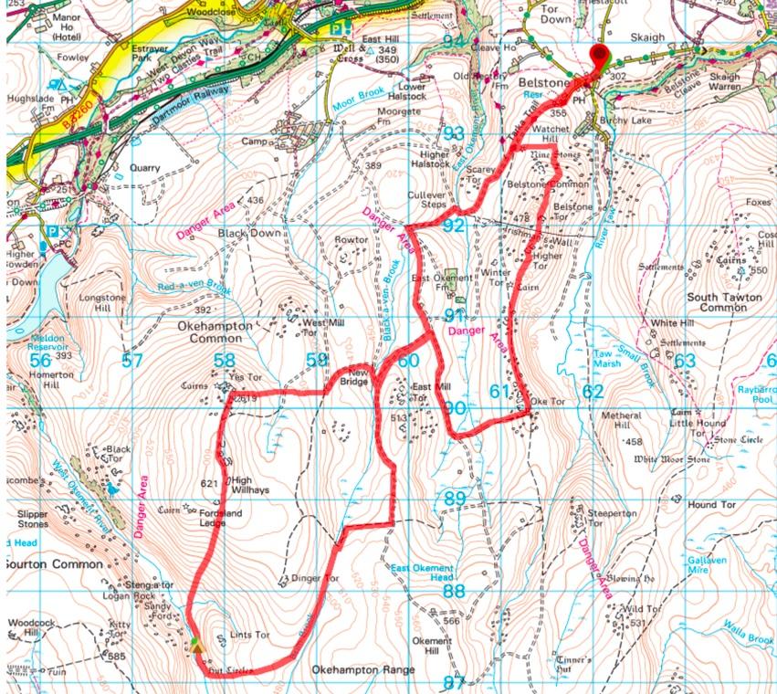 Dartmoor Wild Camping Okehampton OS Map