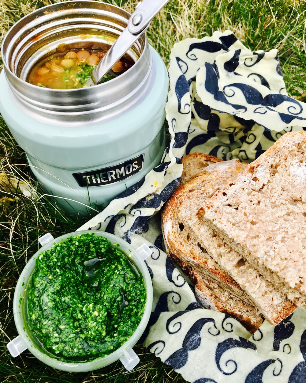 Thermos Food Flask Soup: Lentil Ragu with Wild Garlic Pesto and Sourdough Bread